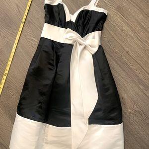 Bebe formal Black & White 100% silk dress!!